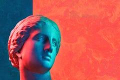 Statue Of Venus De Milo. Creative Concept Colorful Neon Image With Ancient Greek Sculpture Venus Or Aphrodite Head Royalty Free Stock Photos