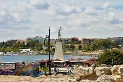 Statue in Old Nesebar. Symbolic statue in the harbor of the Old Nesebar in Bulgaria Stock Images