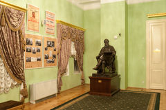 Statue and old posters in lobby of Moscow Conservatory Royalty Free Stock Photos
