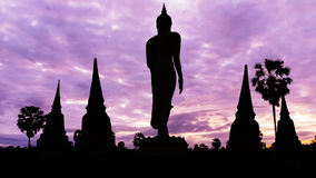 Statue and old temple on twilight time Royalty Free Stock Photography