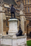Statue of Oliver Cromwell at Westminster in London. Oliver Cromwell is english revolutionary, regicide and lord protector Stock Image