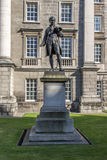 Statue of Oliver Goldsmith at Trinity College, Dublin, Ireland,. The statue is situated in front of the main entrance of the University of Dublin Stock Images