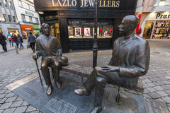Statue of Oscar Wilde and Eduard Vilde. In the city center of Galway - Ireland royalty free stock photography