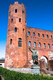 The statue of Ottaviano Augusto and the Torri Palatine, Turin Royalty Free Stock Photos