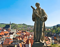 Statue over a city (Český Krumlov) Stock Photo