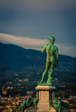 Statue overlooking florence Stock Photo