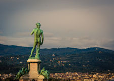 Statue overlooking florence Stock Photos