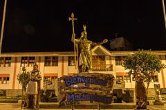 Statue of Pachacuti - Aguas Calientes - Peru, the road to visit royalty free stock photos