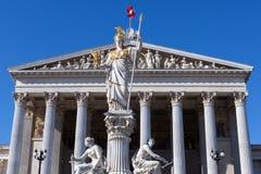Statue of Pallas Athena of the Austrian Parliamen Stock Photos