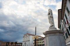 Statue of Palmanova. View of marble statue in Palmanova square, Italy Stock Photos