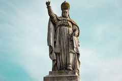 Statue Papa Clemente XIII. On blue sky background. Italy, Padua Royalty Free Stock Images