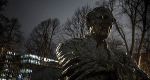 Statue of Patrick Kavanagh. The statue of Patrick Kavanagh along the Grand Canal in Dublin, Ireland, at night Stock Photography
