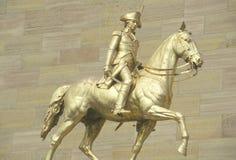 Statue of patriot on horseback. At entrance of Philadelphia Museum of Art royalty free stock image