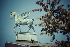 Statue of pegasus on the roof of opera in poznan poland Stock Photo