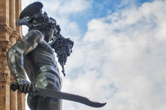 Statue of Perseus. Perseus with the Head of Medusa, bronze statue made by Benvenuto Cellini in 1554 and exposed in Piazza della Signoria, Florence, Italy royalty free stock photos