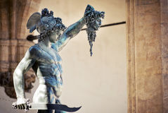 Statue of Perseus. By Benvenuto Cellini, the Loggia dei Lanzi - Florence Italy Stock Images