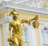 Statue of Perseus with the head of gorgon Medusa. Statue of Perseus with the head of the gorgon Medusa, Petergof, Saint Petersburg, Russia Royalty Free Stock Images