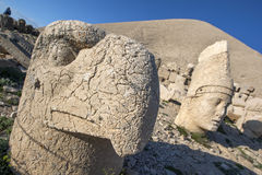 The statue of a Persian eagle god and Antiochus on the western platform at Mt Nemrut in Turkey. Stock Photo