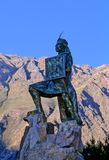 Statue- Peru. Statue of Incan warrior Ollantay in the traditional village of Ollantaytambo (Sacred Valley), Peru Stock Photos