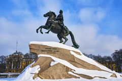 Statue of Peter the Great 1682-1725, Russian emperor Stock Photos