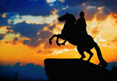 Statue of Peter Great, silhouetted against the sunset. St. Peter Royalty Free Stock Photography