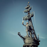 Statue of Peter the Great - vintage effect. Stock Photo
