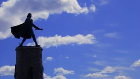 Statue of Peter the Great walking with a scroll in hand stock video