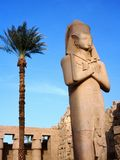 Statue of pharaoh in Karnak temple. And palms in Egypt stock photo