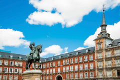 Statue of Philip III on Mayor plaza in the center of Madrid Spai Royalty Free Stock Photos