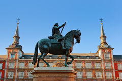 Statue of Philip III on Mayor plaza in Madrid Stock Photography