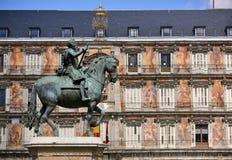 Statue of Philip III at Mayor plaza in Madrid Stock Photos