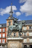 Statue of Philip III at Mayor plaza in Madrid Stock Photography