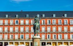 Statue of Philip III on Plaza Mayor in Madrid, Spain Stock Images