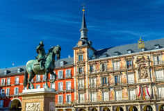 Statue of Philip III on Plaza Mayor in Madrid, Spain Royalty Free Stock Photo