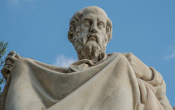 Statue of the philosopher Plato in Athens Greece. Greek philosopher Plato depicted in a statue in downtown Athens Royalty Free Stock Photography