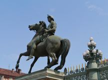 Statue on the piazza castello in Turin Royalty Free Stock Images