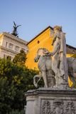 Statue at the Piazza del Campidoglio, Rome, Europe. Statue at the Piazza del Campidoglio. Piazza del Campidoglio is one of Rome`s most beautiful squares designed Royalty Free Stock Image