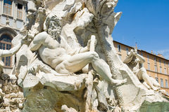 Statue in Piazza Navona Royalty Free Stock Images
