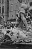 Statue in Piazza Navona. Detail of fountain in Piazza Navona, Rome, Italy Royalty Free Stock Images