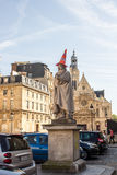 Statue of Pierre Corneille with traffic cone on his head, outsid Stock Photos