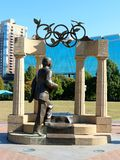 Statue of Pierre De Coubertin and Olympic sculpture in downtown Atlanta, Georgia Stock Photos