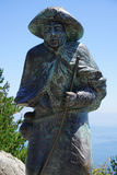Statue of a pilgrim at Cape Finisterre Stock Image
