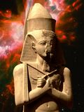 Statue of Pinedjem and Butterfly Nebula (Elements of this image. Photo-montage of statue of Pinedjem in Karnak and Butterfly Nebula as background (Elements of Stock Photo