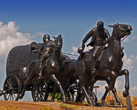 Statue of Pioneers. Who participated in the Oklahoma Land Rush Stock Photography