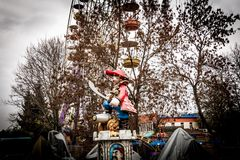 Pirate Statue in an Amusement Park, Kropyvnytskyi, Ukraine. A statue of a pirate in a red caftan with a sword. It is one of the attractions for children in the Royalty Free Stock Images