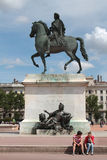 Statue on Place Bellecour. Lyon Royalty Free Stock Images