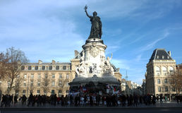 The statue of Place de la Republique is turned to a memorial site Royalty Free Stock Photo
