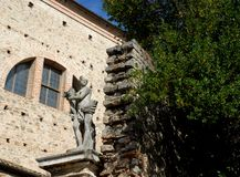 Statue placed the Entrance side of the former church in Monselice in the Veneto (Italy) Stock Image