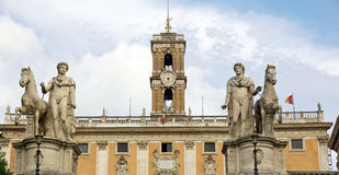 Statue of Pollux and Castor in Rome Royalty Free Stock Images