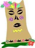 Statue polynésienne de Tiki avec des tatouages de requin illustration de vecteur